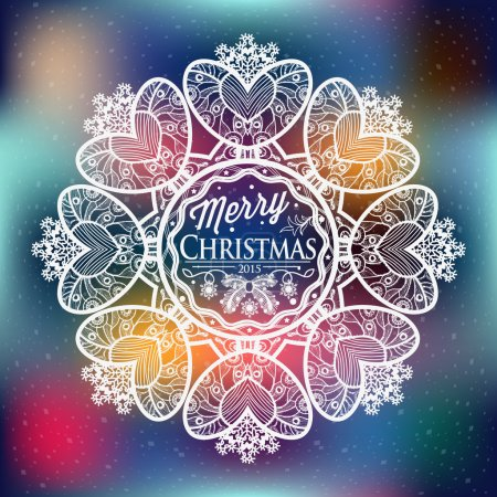 Illustration for Christmas and New year label decoration of calligraphic design with typographic labels, symbols of the year and icons elements for you. Hand drawn autors work. - Royalty Free Image