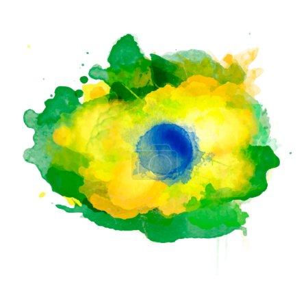 Vector watercolor splash in Brazil flag concept color