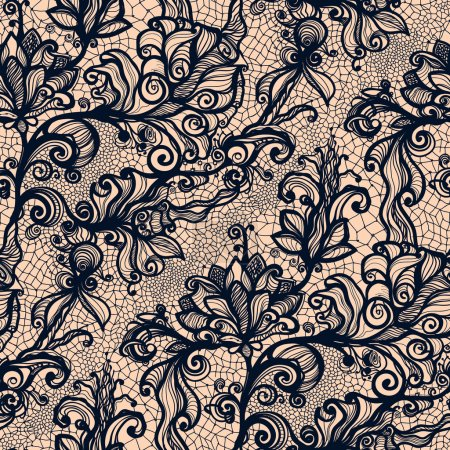 Abstract seamless lace pattern with flowers on ora...