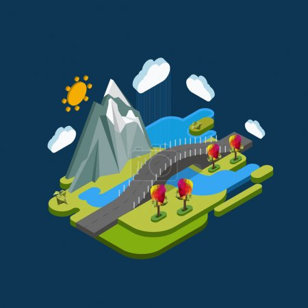 Isometric landscape with mountains