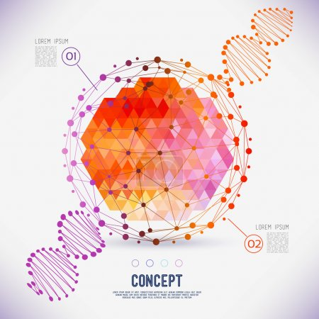 Illustration for Abstract concept geometric lattice, the scope of molecules, DNA chain. Round composition of the molecular lattice with geometrical figure in the middle. Color composition vector for your design. - Royalty Free Image