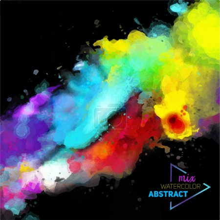 Illustration for Vector abstract watercolor palette of mix colors, a mixture of colors, stains with a spray of water colors, the author's work. - Royalty Free Image