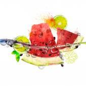 juicy fruits in water