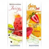 Banners with fruits in water splashes