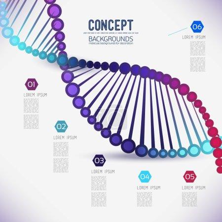 Illustration pour Abstrait black geometric treillis DNA, the scope of molecules. composition du réseau moléculaire. Composition d'image couleur pour votre conception . - image libre de droit