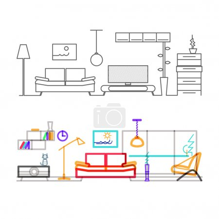 modern living room design concept