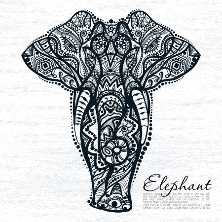 Illustration pour Dessin vectoriel de l'éléphant avec des motifs ethniques de l'Inde. Sur le fond grunge . - image libre de droit