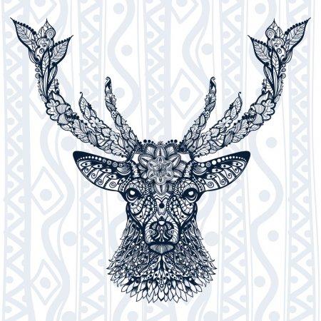 Illustration pour Signe de tête de cerf avec ornement de feuilles et de fleurs contre ornement ethnique - image libre de droit