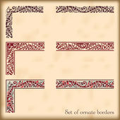 set of ornate borders with decorative corner elements vector