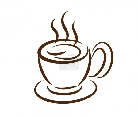 Illustration for Coffee cup ,line drawing style, vector design. - Royalty Free Image