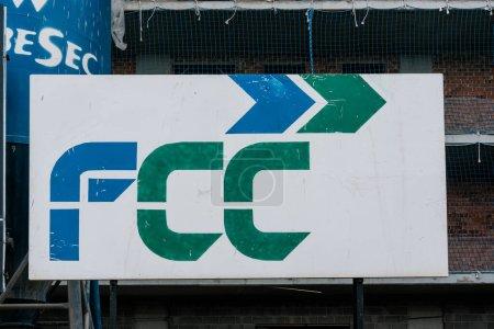 Badalona, Barcelona, Spain - February 21, 2021. Fomento de Construcciones y Contratas, S.A. (FCC) is a Spanish business group, based in Barcelona, specialized in citizen services