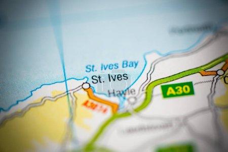 Photo pour St. Ives. Royaume-Uni sur la carte - image libre de droit