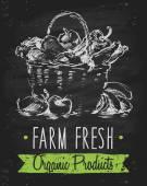 Ekologické farmy potravin plakát zdravé nakreslené tabuli