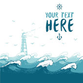 Blue waves lighthouse birds summer sea banner