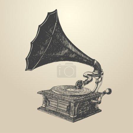Hand drawn vintage Phonograph
