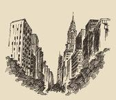 """Постер, картина, фотообои """"Руки drawn Нью-Йорк"""""""
