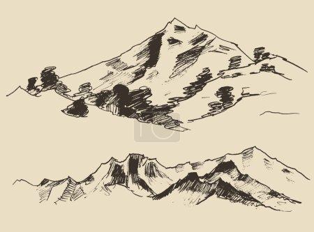 Illustration pour Montagnes, contours des montagnes gravure vectorielle illustration, dessin à la main, croquis - image libre de droit