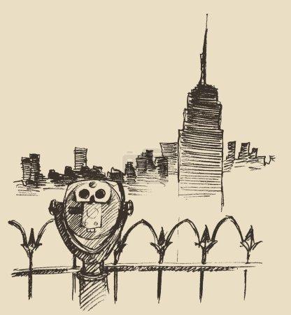 Illustration pour Point de vue avec jumelles (visionneuse binoculaire) et illustration vectorielle dessinée à la main par skyline de la ville - image libre de droit