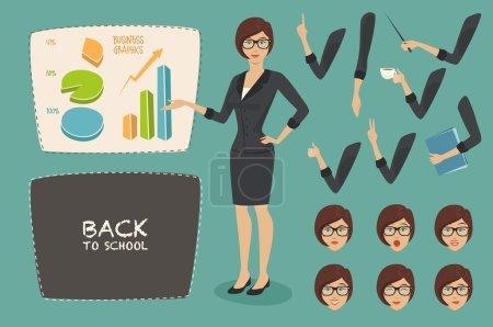 Illustration pour Illustration vectorielle concept d'entreprise mis jeune femme, enseignant (personnage de femme d'affaires) graphiques sur le tableau blanc, émotions visage, style plat, retour à l'école - image libre de droit