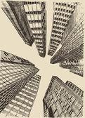 Hand drawn city buildings