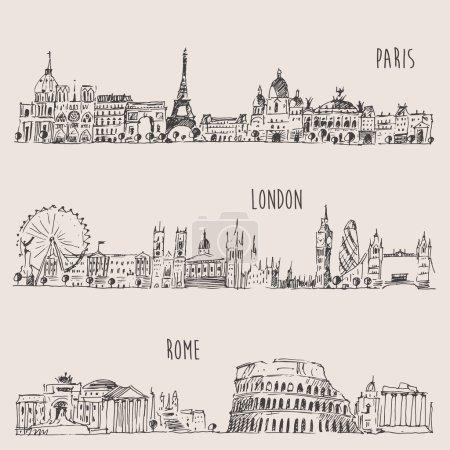 Hand drawn city set
