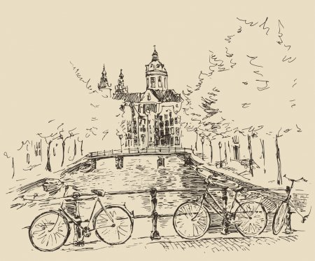 Hand drawn Amsterdam city
