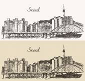 Seoul Special City architecture (South Korea) vintage engraved illustration hand drawn sketch