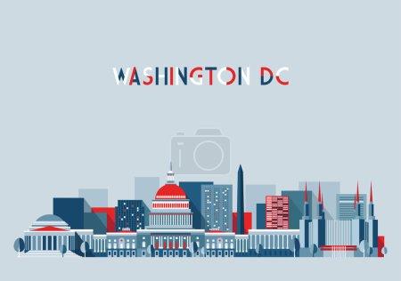 Washington city in  flat design