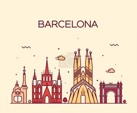 Illustration for Barcelona City skyline detailed silhouette. Trendy vector illustration, line art style. - Royalty Free Image