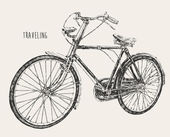 Bicycle high detail traveling engraving vintage vector illustration hand drawn