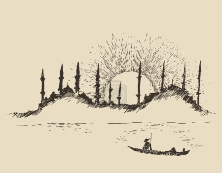 Hand drawn Istanbul city