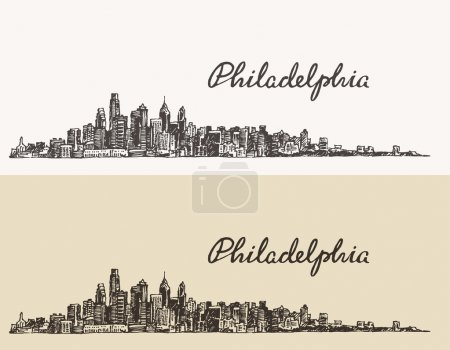 Illustration for Philadelphia skyline, big city architecture, vintage engraved vector illustration, hand drawn, sketch. - Royalty Free Image