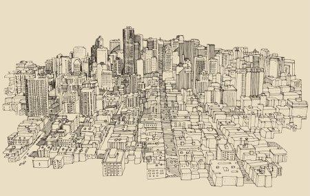 Illustration pour Grande ville, architecture, illustration gravée, dessin à la main, croquis - image libre de droit