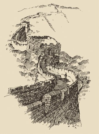 Illustration pour Grande Muraille de Chine, illustration de vecteur gravée de cru, dessiné à la main - image libre de droit