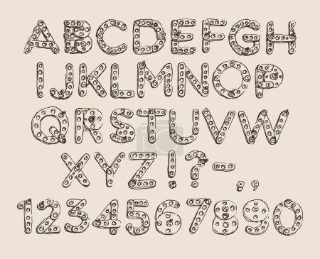 Mechanical meccano (cartoon robot) font (type) eng...