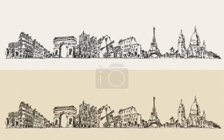Hand drawn Paris city
