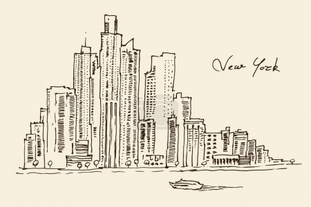 Illustration for New York city architecture, vintage engraved illustration, hand drawn, sketch - Royalty Free Image