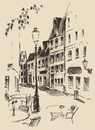 Hand drawn street in Paris