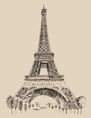 Illustration for Eiffel Tower, Paris France architecture, vintage engraved illustration, hand drawn - Royalty Free Image