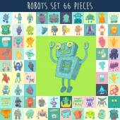 Set of funny cute cartoon robots Robot toy vector Illustration hand drawing