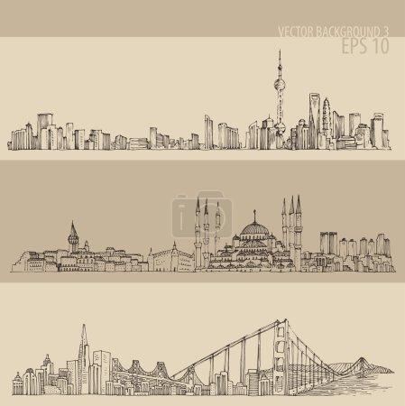Photo pour Grande architecture de ville, illustration gravée vintage, dessin à la main, croquis - image libre de droit