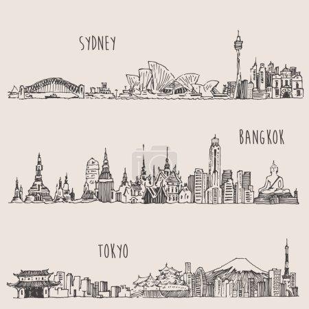 Photo pour Sydney, Bangkok, Tokyo, grande ville architecture, illustration gravée vintage, dessin à la main, croquis - image libre de droit