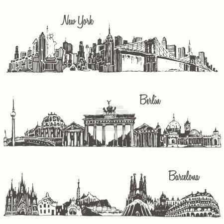 Photo pour Ensemble de villes New york Berlin Barcelone illustration vectorielle gravée dessinée à la main - image libre de droit