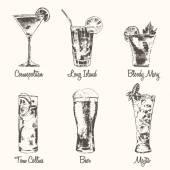 Set cocktail Cosmopolitan Beer Mojito vector drawn