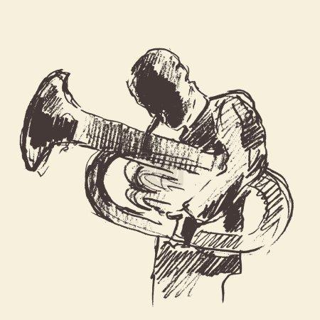 Jazz poster Tuba music acoustic consept