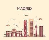 Madrid skyline trendy vector illustration linear
