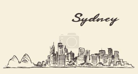 Sydney skyline vintage illustration drawn sketch