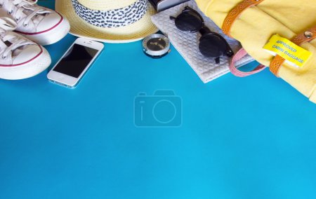 Photo for Different objects for traveling on blue background - Royalty Free Image