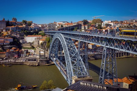Dom Luis I Bridge and view of Porto old town