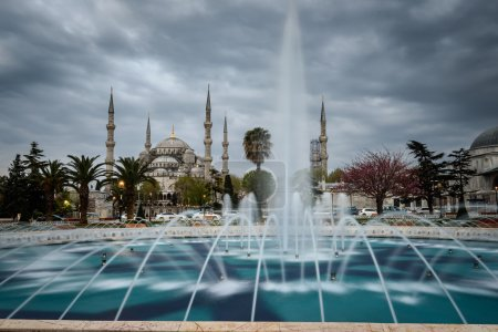 Blue mosque from fountain